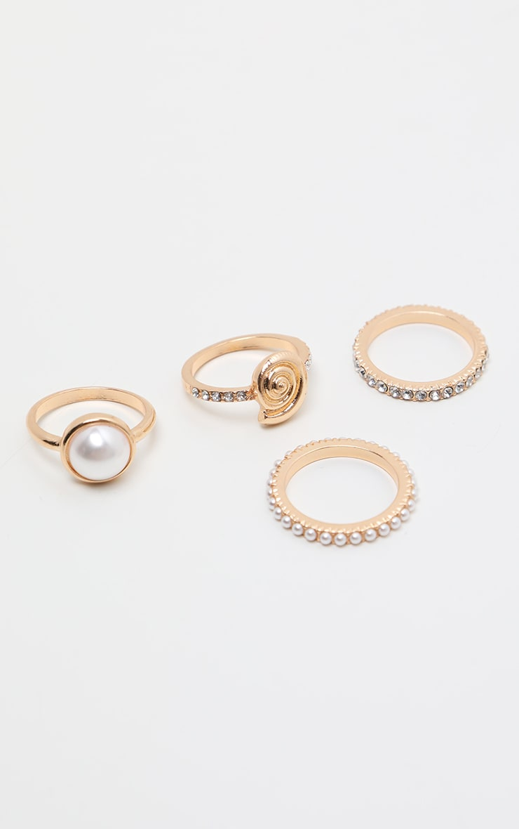 Gold Multi Textured Pearl Rings 3