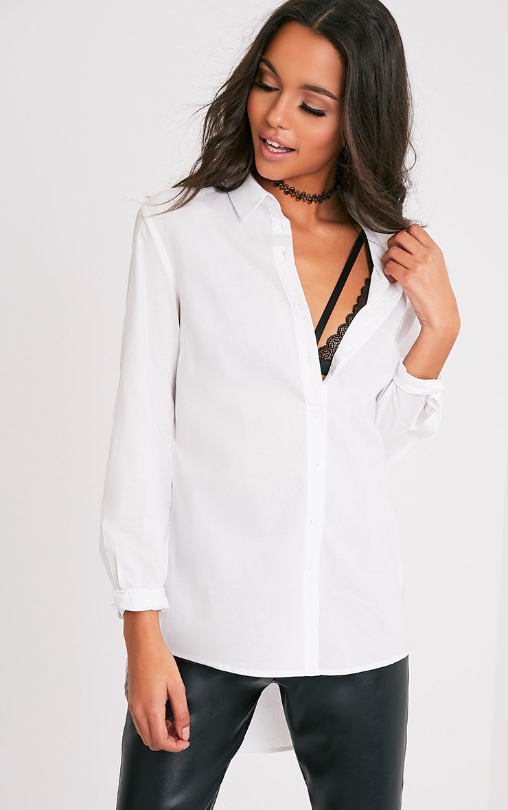Analyn chemise blanche à ourlet long 4