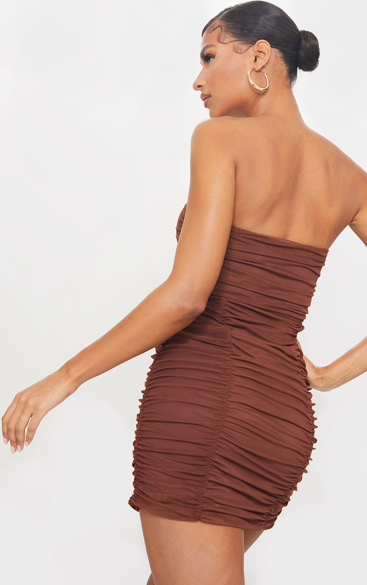 Chocolate Mesh Extreme Ruched Bandeau Bodycon Dress 2