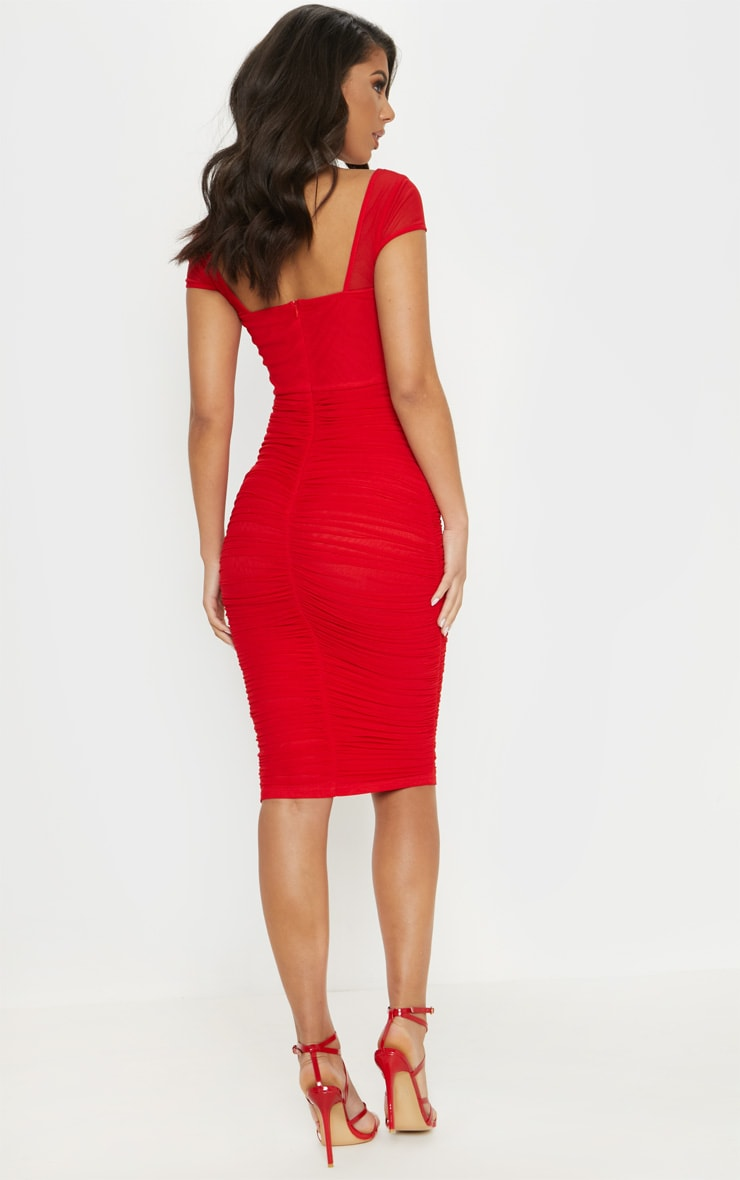 Red Mesh Ruched Midi Dress 2