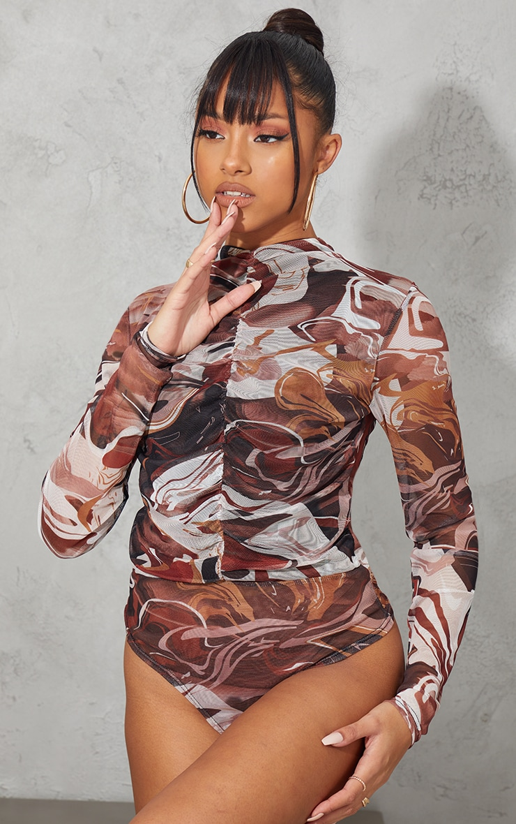 Brown Abstract Swirl Printed Mesh Ruched Front Long Sleeve Bodysuit 2