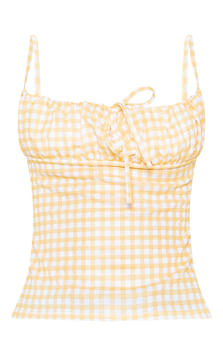 Yellow Gingham Ruched Tie Front Cami Top 3