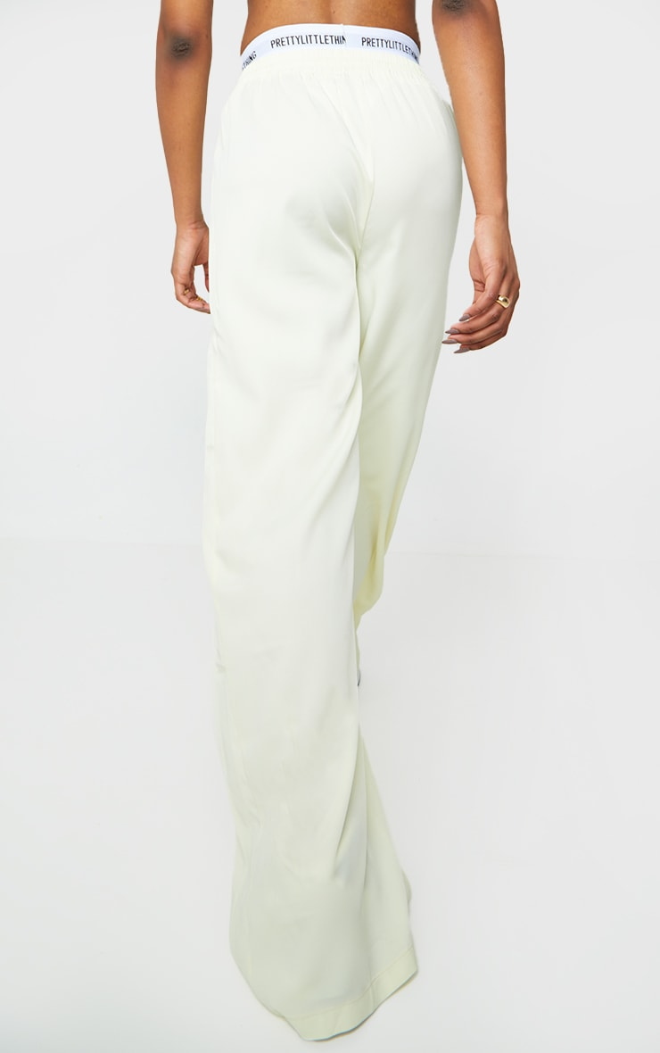 Cream Satin Drawstring Waist Wide Leg Pants 3