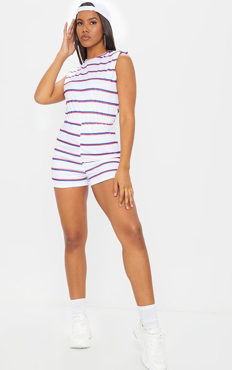 White Striped Crew Neck Shoulder Pad T Shirt Playsuit 3