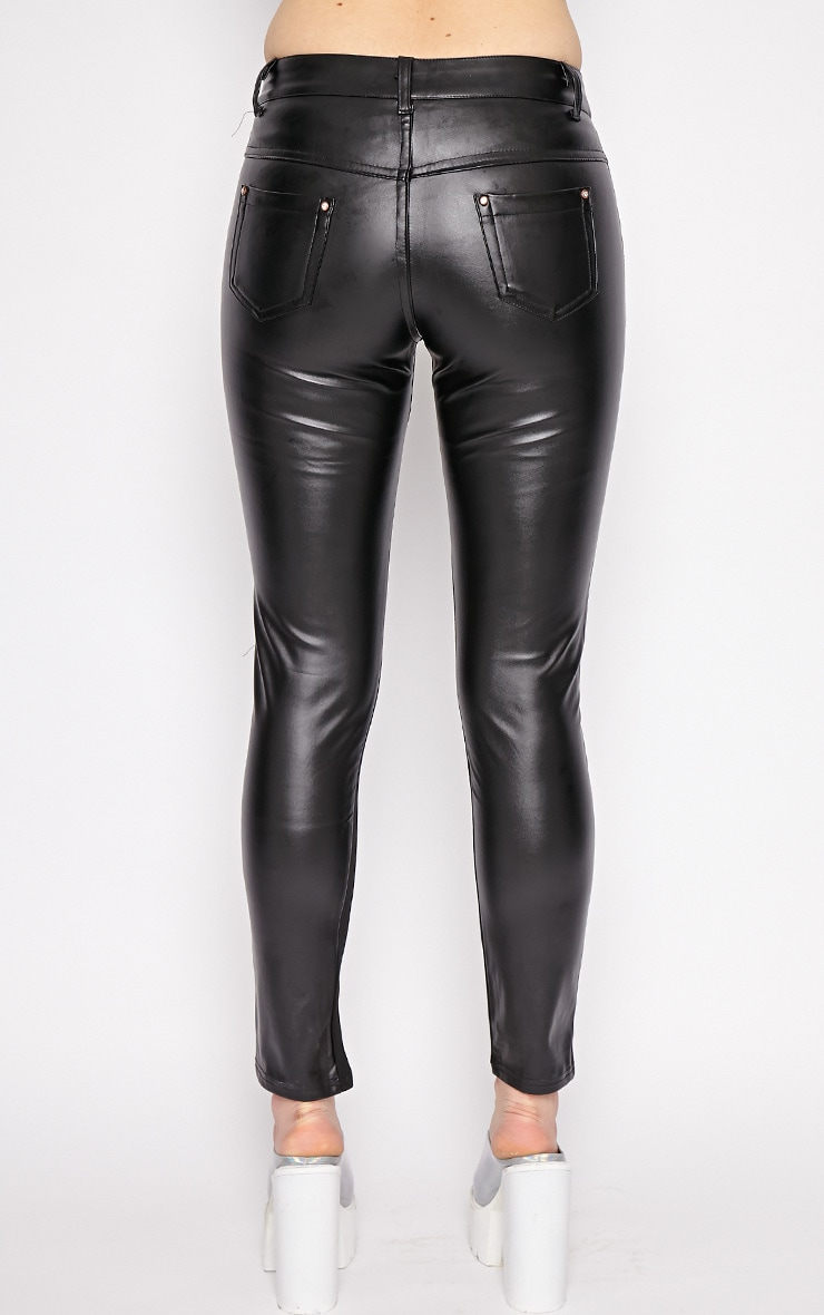 Augustina Black Leather Trousers 2