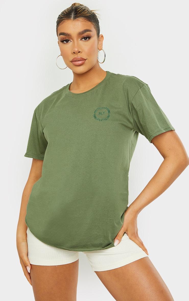 PRETTYLITTLETHING Khaki Circle Embroidered T Shirt 1