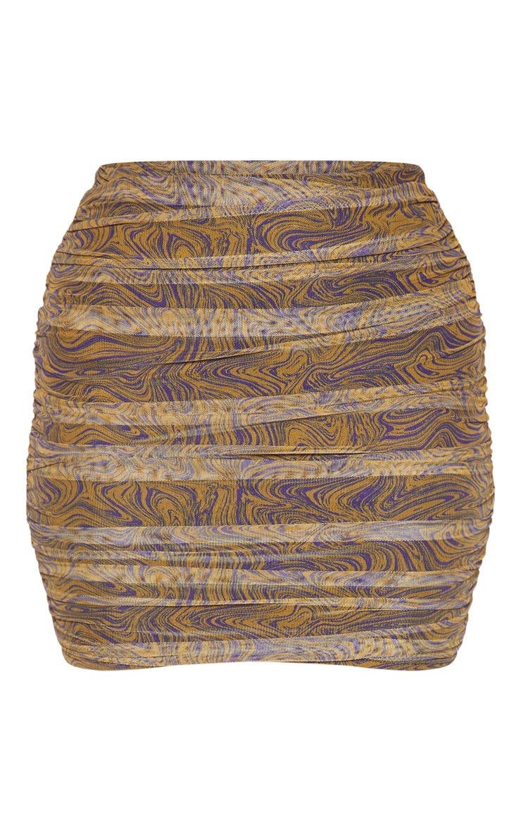 Mustard Geo Print Mesh Ruched Detail Mini Skirt  3