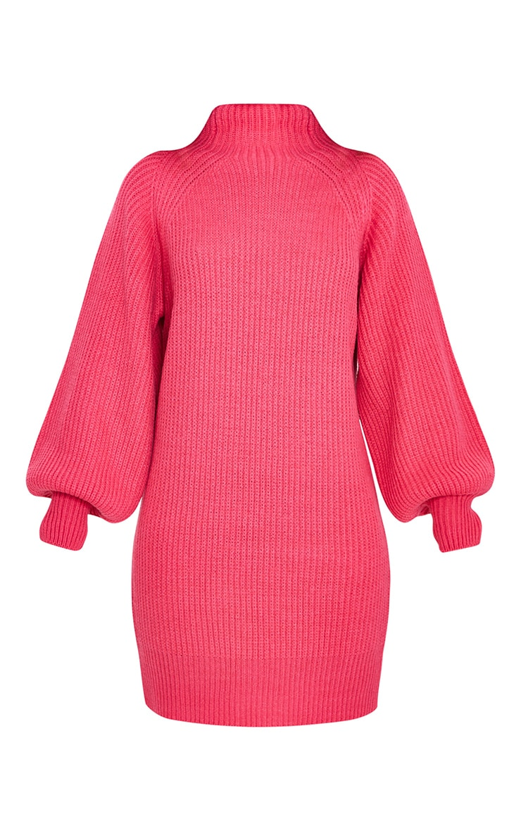 Pink Balloon Sleeve Funnel Neck Sweater Dress 5