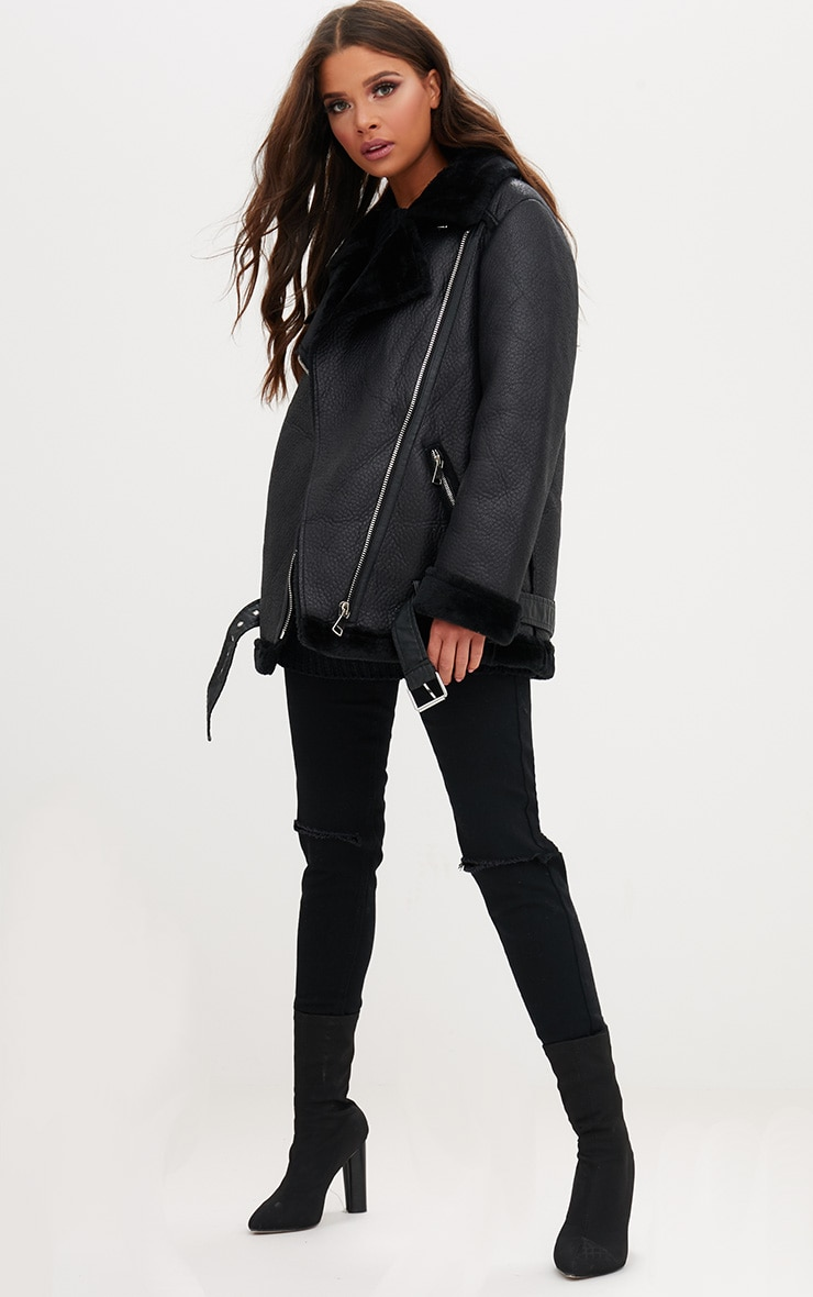 Black PU Aviator Jacket 4
