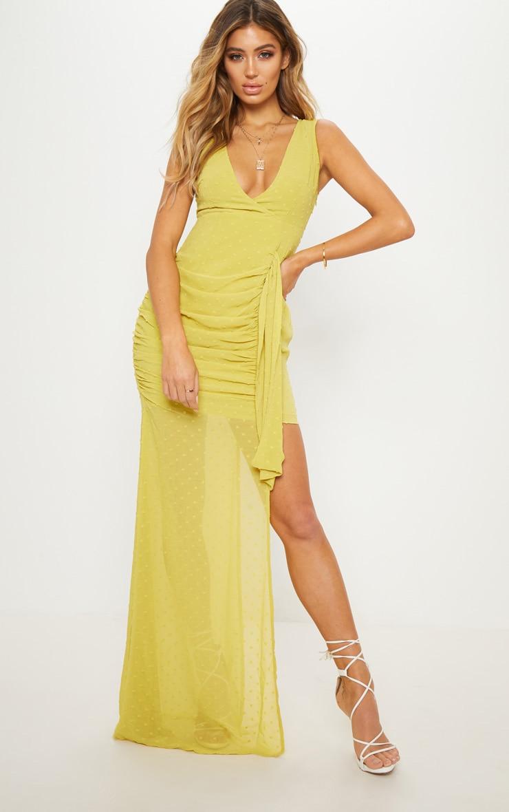 Chartreuse Spotty Chiffon Drape Detail Bodycon Dress