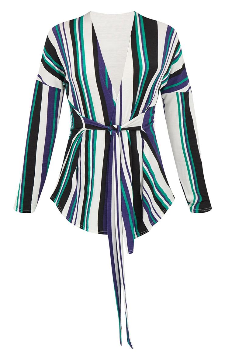 White Jersey Stripe Tie Waist Blouse  3