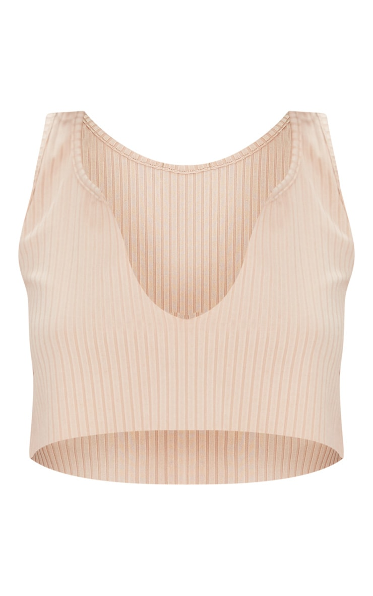 Nude Rib Deep V Raw Edge Crop Top  3