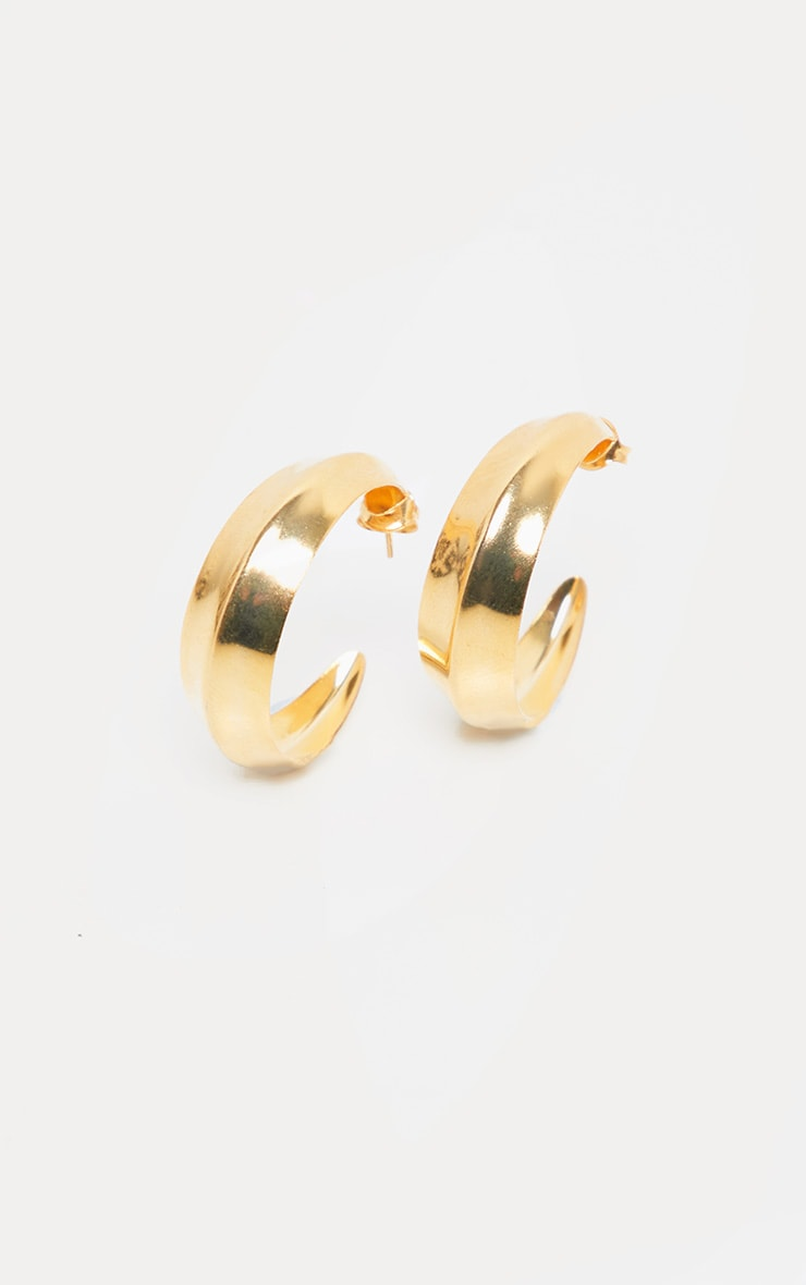 Gold Flat Edge Small Hoop Earring 2