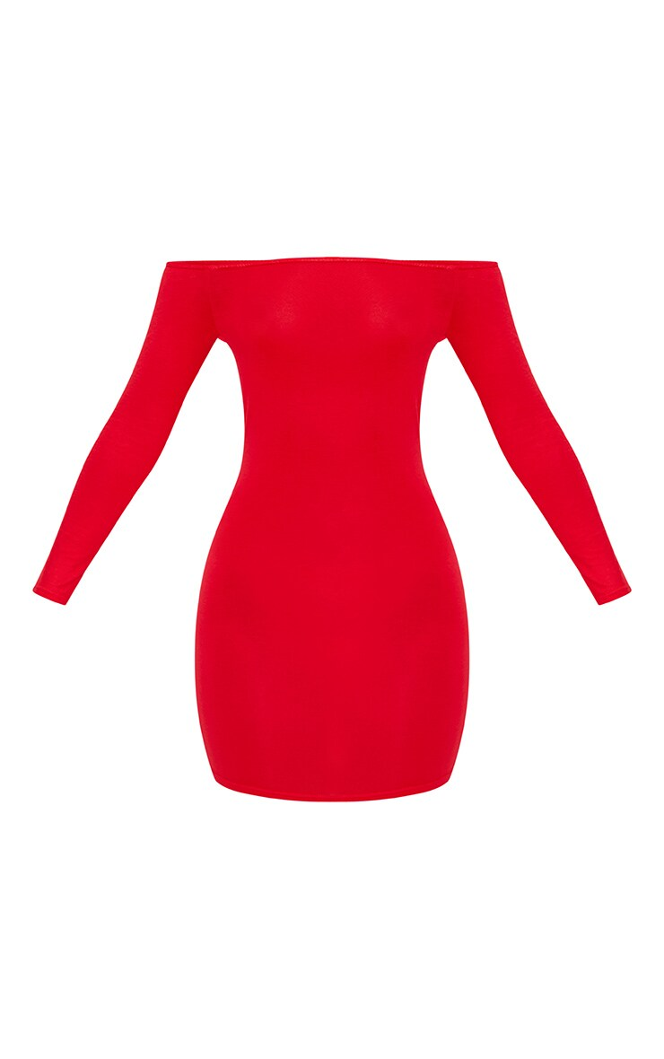 Basic Red Bardot Bodycon Dress 3