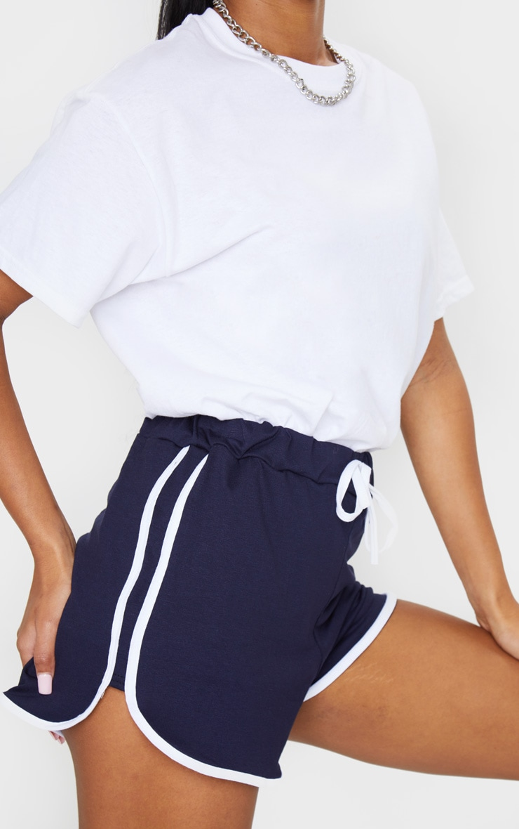 Navy Double Side Stripe Runner Shorts 5