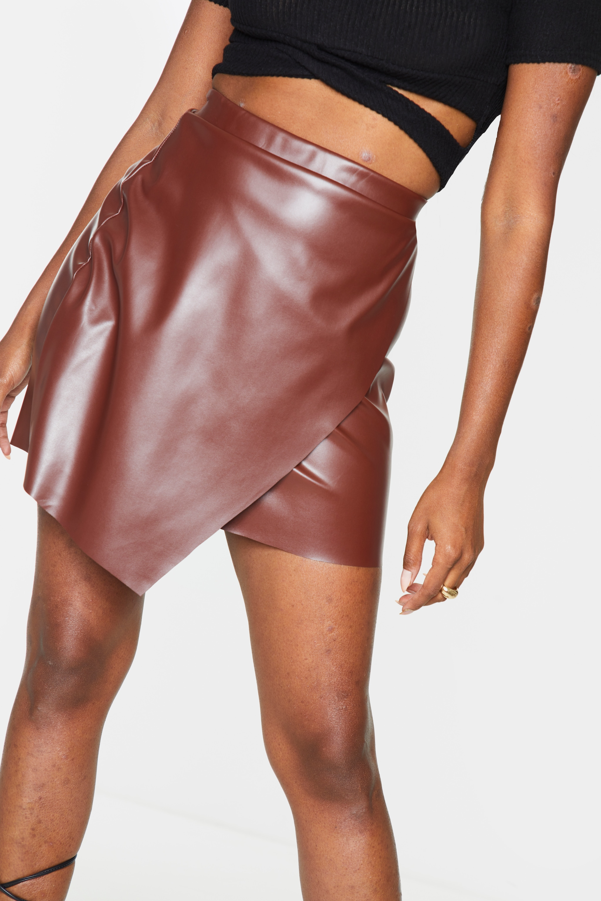 Chocolate Faux Leather Wrap Mini Skirt 5