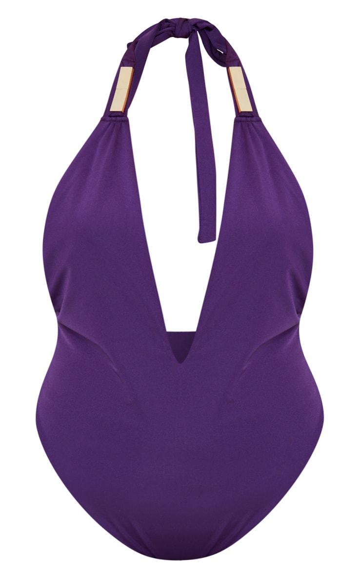 Plus Purple Metal Trim Halterneck Swimsuit 1
