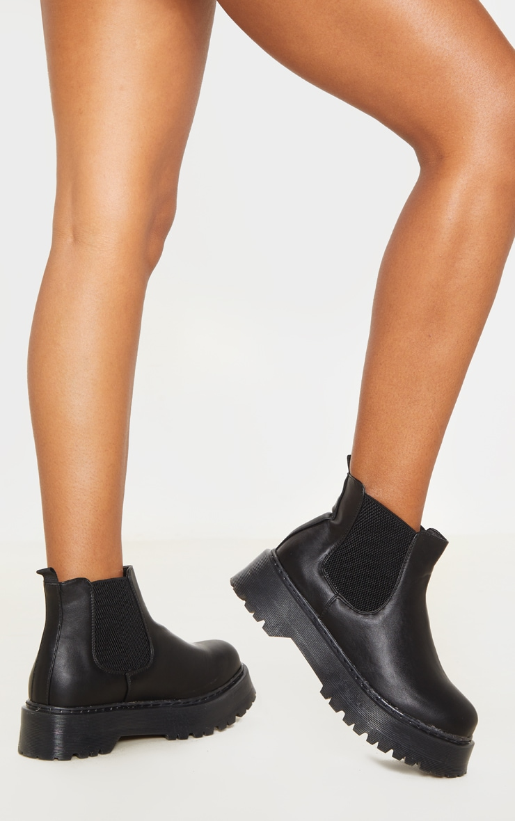 Black Wide Fit Chunky Sole Chelsea Ankle Boot 2