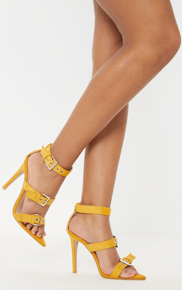 Mustard Point Toe Triple Strap Sandal 2