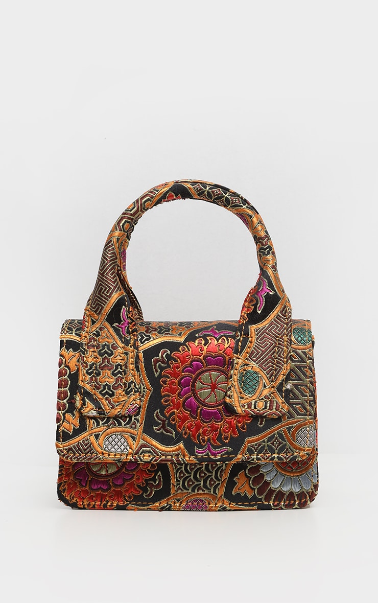 Gold Jacquard Mini Square Handle Bag 5