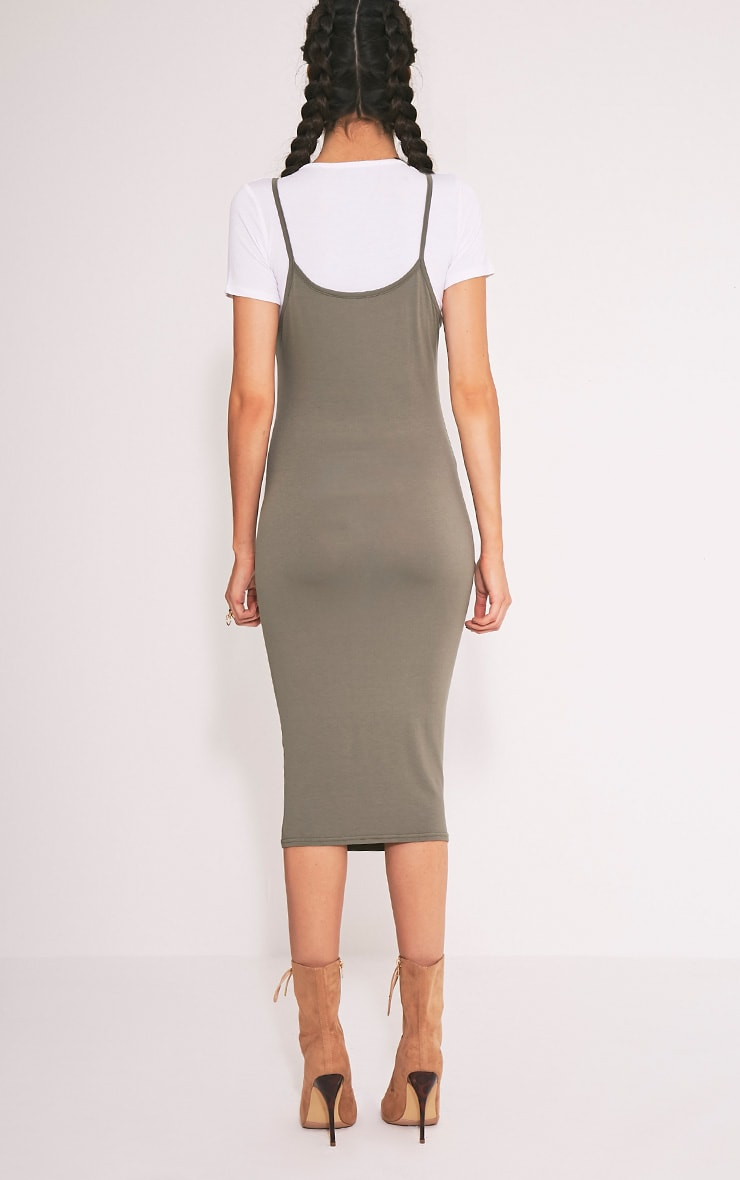 2 Pack Basic Khaki T Shirt and Midi Dress 2