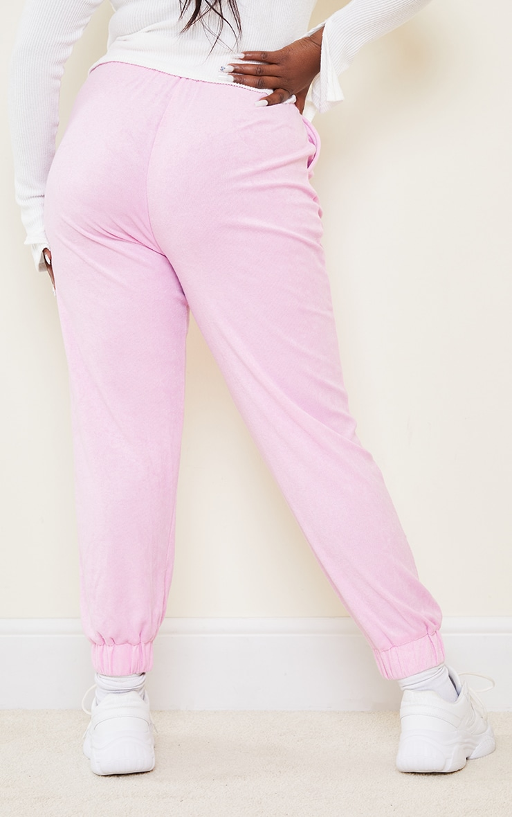 Plus Pink Towelling Joggers 3