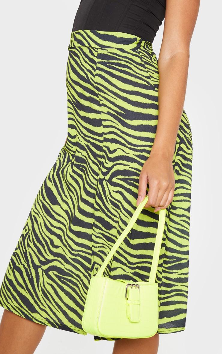 Neon Zebra Print Floaty Midi Skirt 5