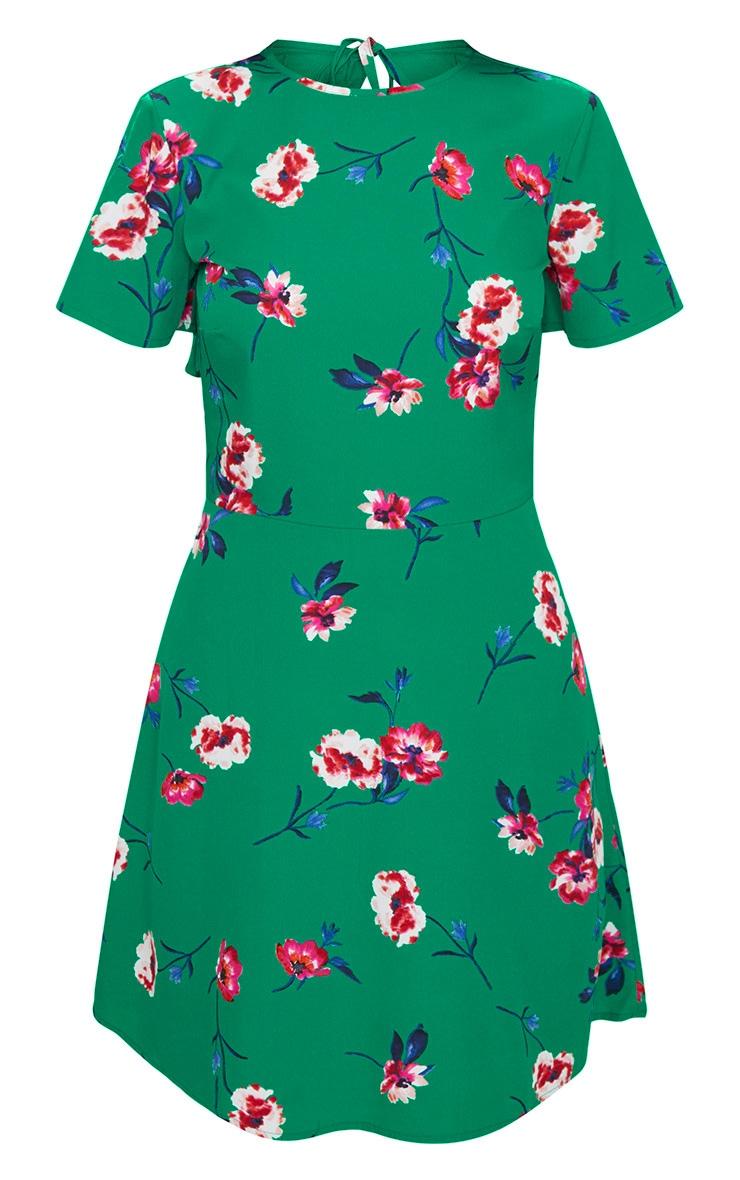 Emerald Green Floral Frill Back Tea Dress 3