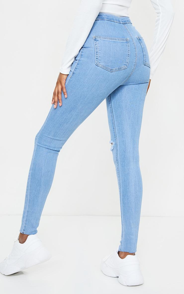 PRETTYLITTLETHING Tall Light Blue Wash Raw Hem Knee Rip Disco Skinny Jean 3