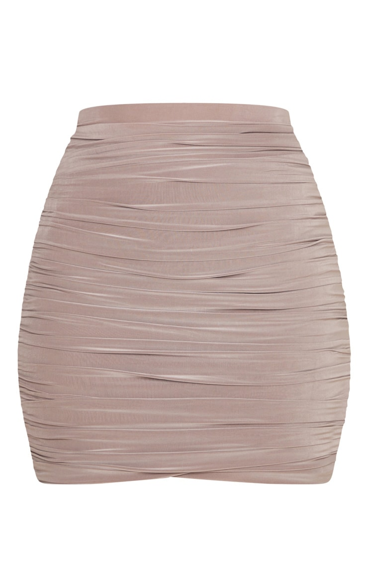 Sabina Taupe Ruched Layered Slinky Mini Skirt 3
