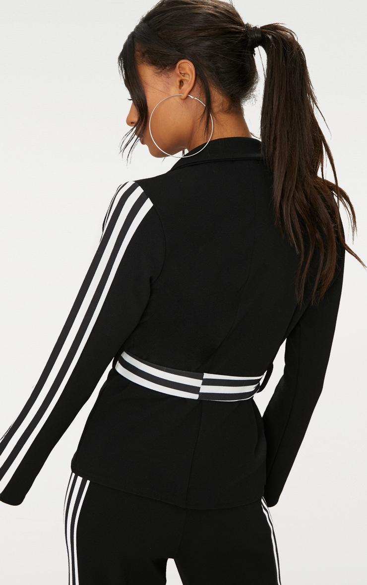 Black Multi Stripe Side Blazer  2