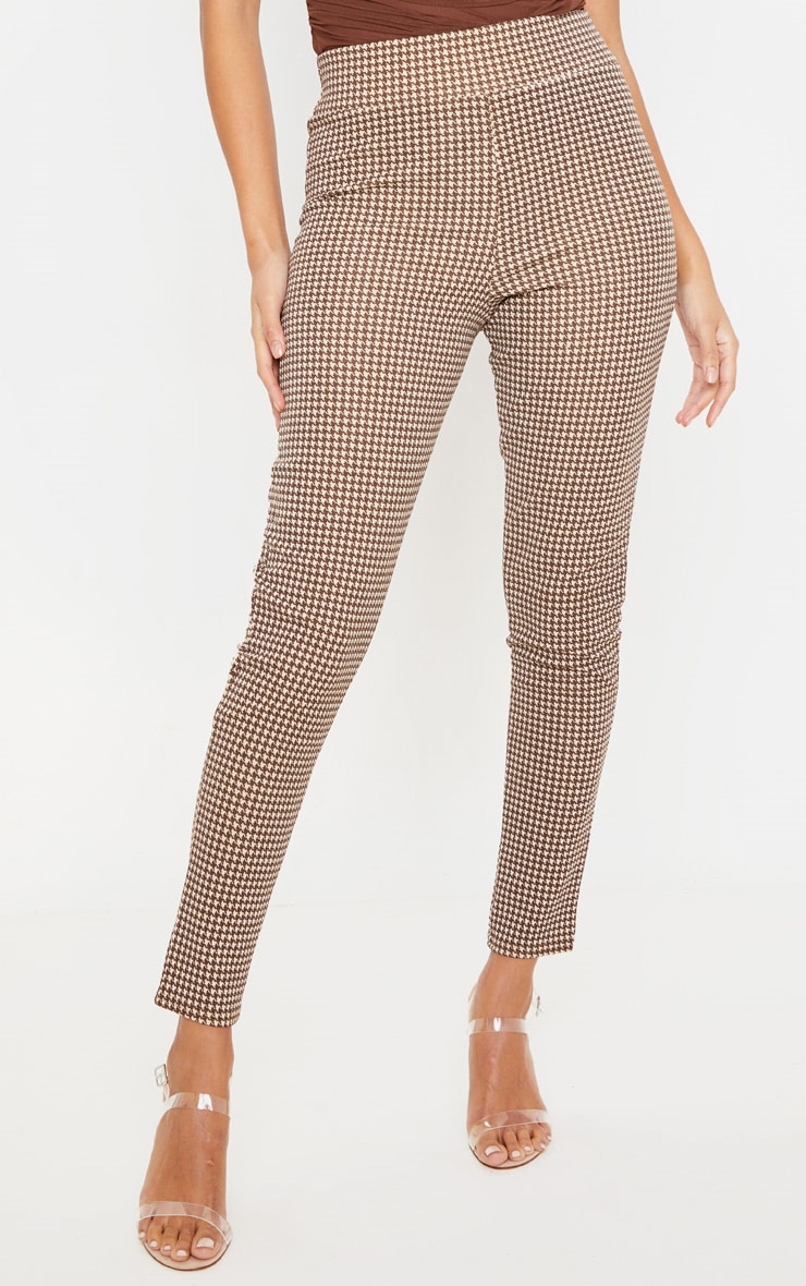 Stone Dogtooth Check Belted Skinny Pants 2