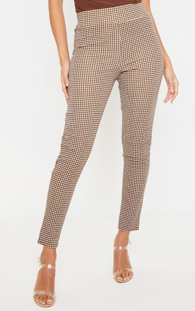 Stone Dogtooth Check Skinny Trouser