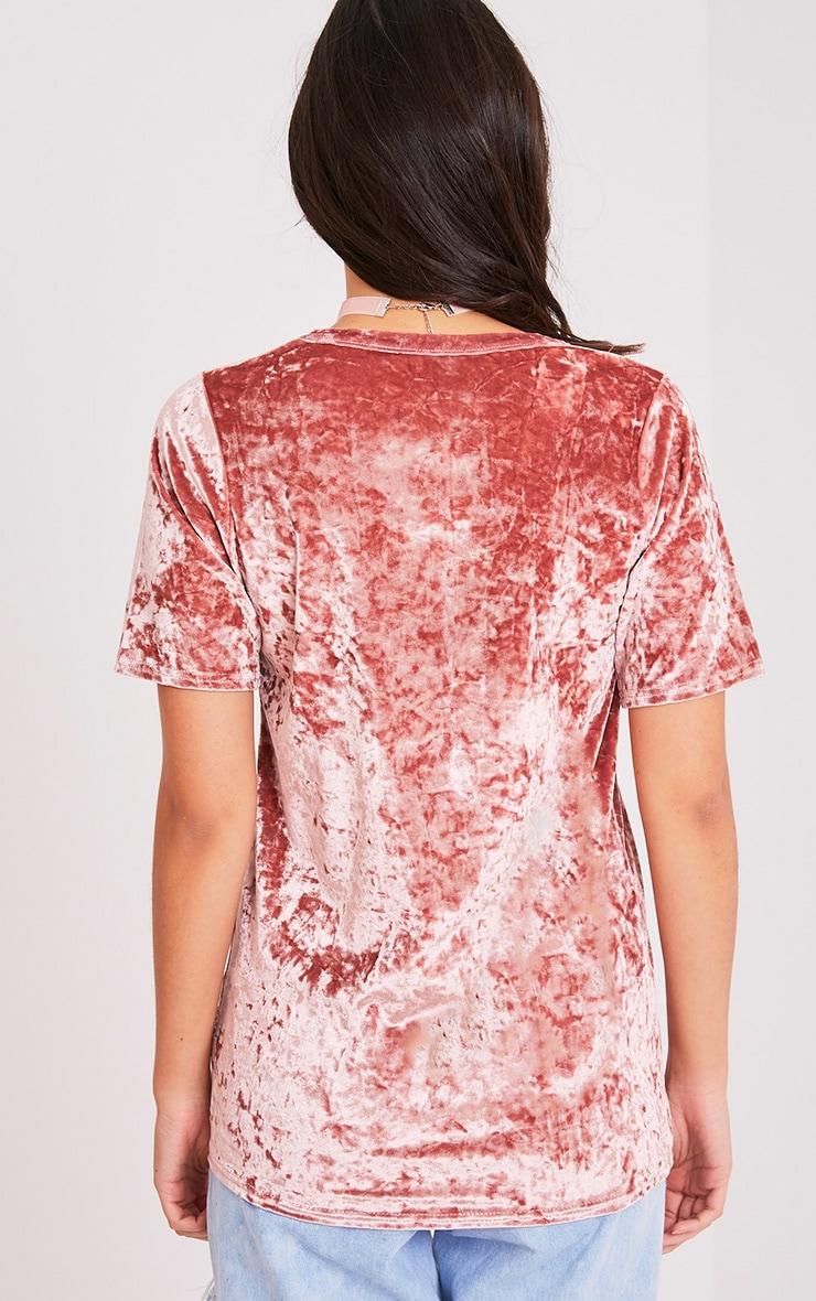 Suri t-shirt surdimensionné côtelé en velours rose 2