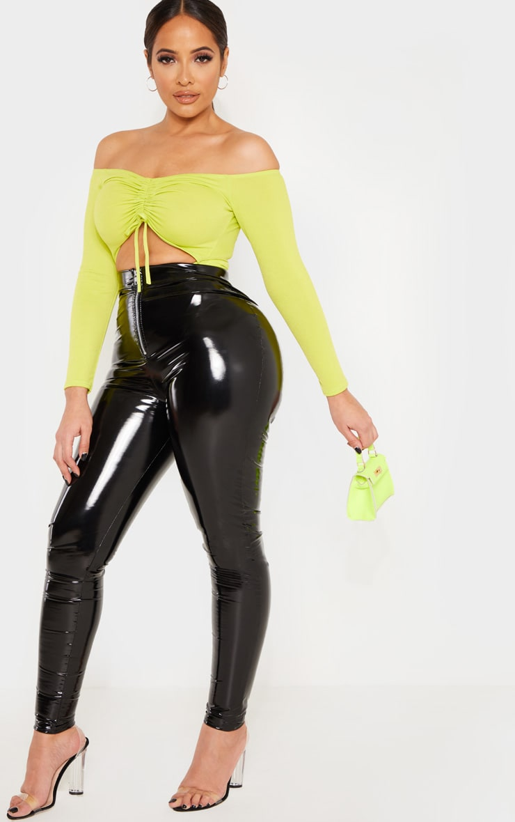 Shape Neon Lime Ruched Detail Bardot Bodysuit 4
