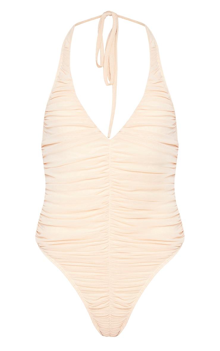 Nude Mesh Ruched Plunge Halterneck Bodysuit 5