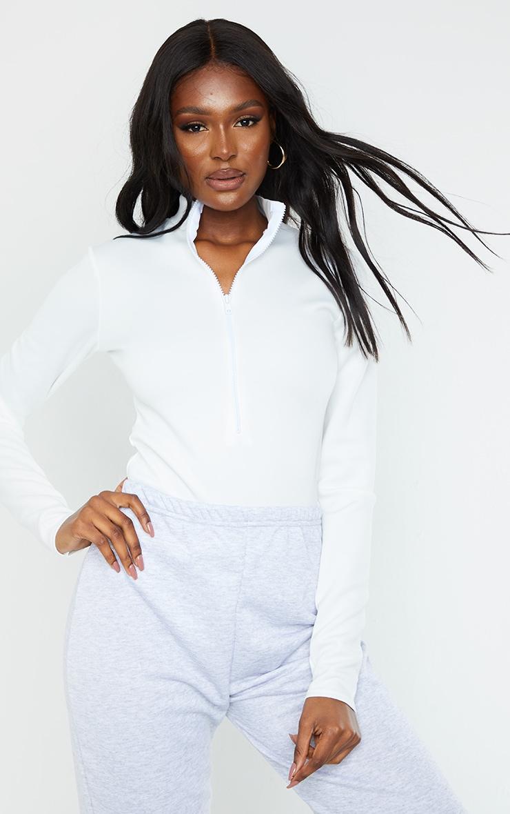 Tall White Bonded Scuba High Neck Zip Bodysuit 1