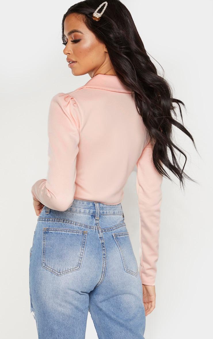 Blush Collar Detail Long Sleeve Cropped Shirt 2