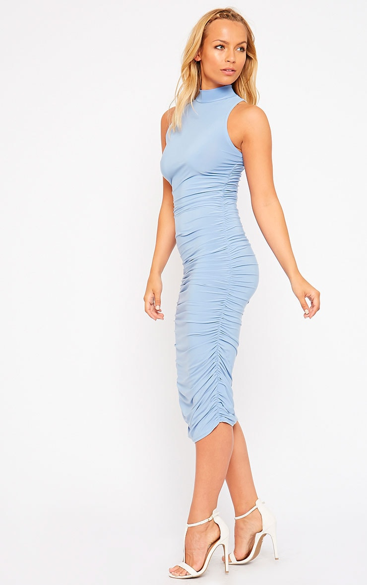 Alabama Powder Blue Slinky High Neck Ruched Sides Dress 4