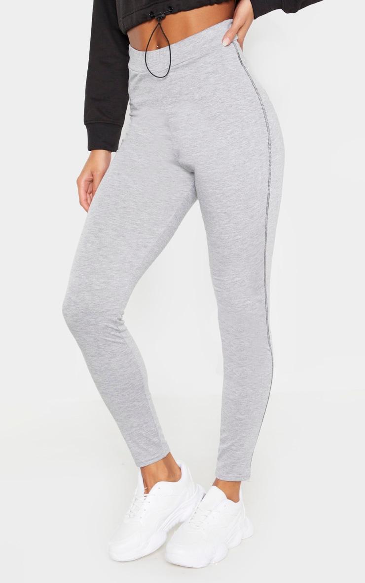 Grey Marl Contrast Stitch Legging 2