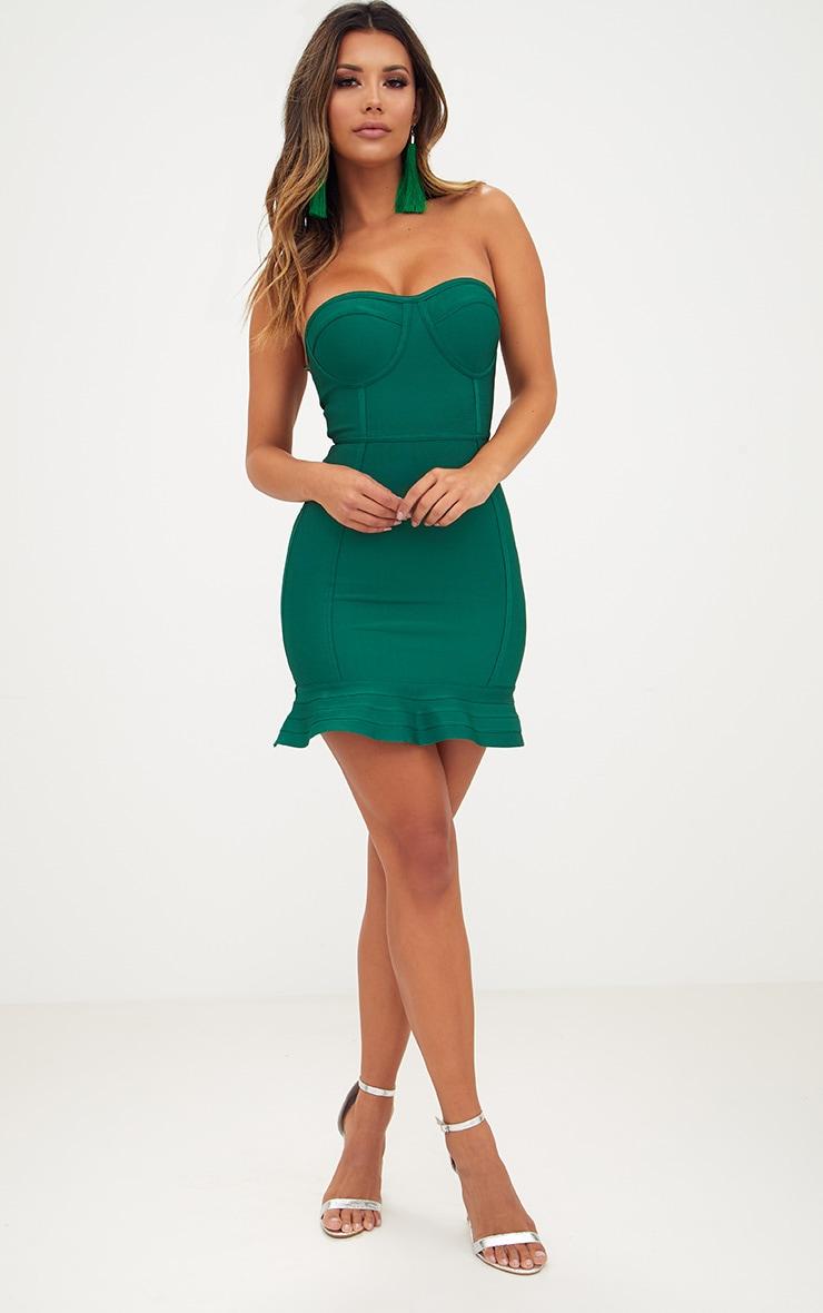 Emerald Green Bandage Frill Hem Bodycon Dress 4