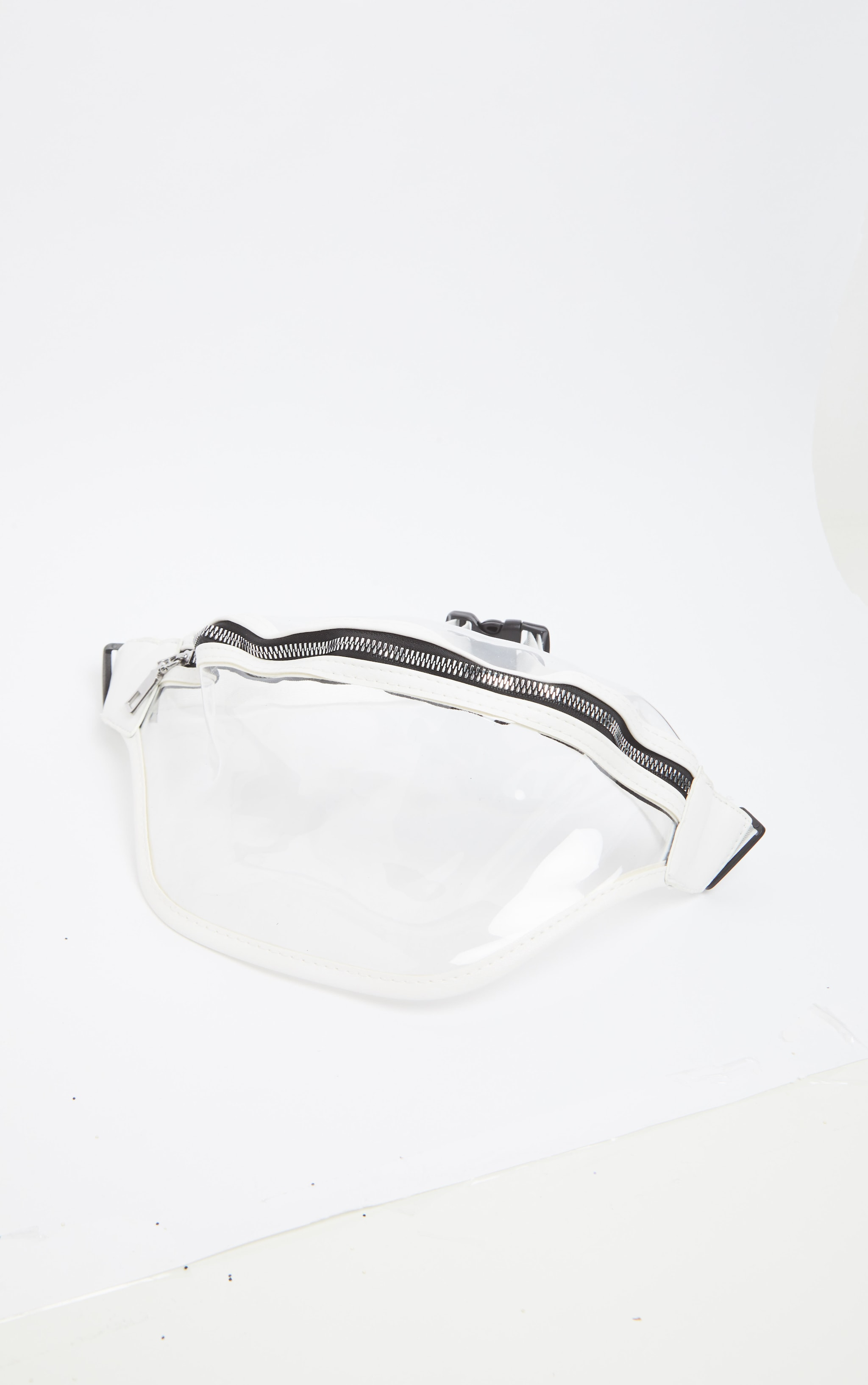 White Transparent Plastic Large Bum Bag 3