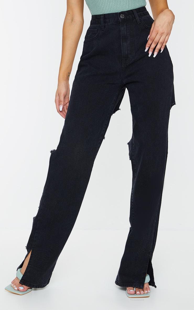 Washed Black Ripped Back Split Hem Jeans 2
