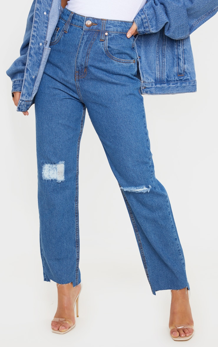 Petite Mid Wash Distressed Knee Stepped Hem Jeans 2