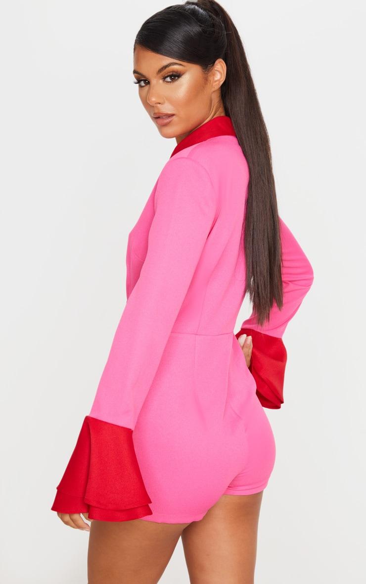 Pink Contrast Frill Sleeve Blazer Playsuit 2