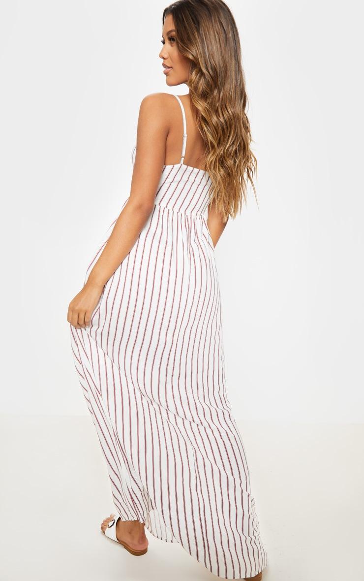 Cream Woven Stripe Button Through Tie Maxi Dress 2