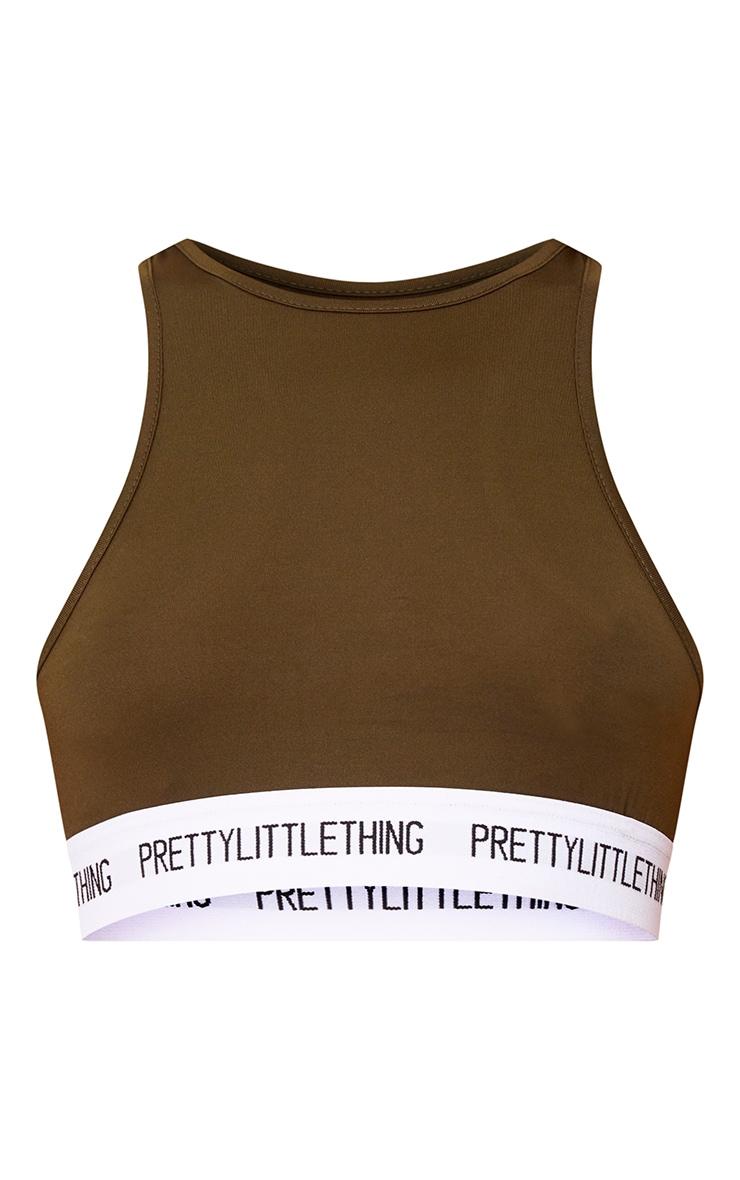 PRETTYLITTLETHING Khaki High Neck Soft Bra 3
