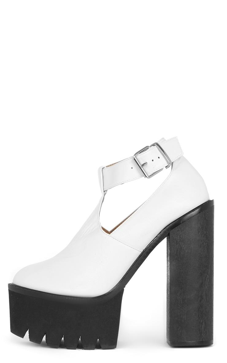 Felicia White Chunky Heel Ankle Strap Sandal 1