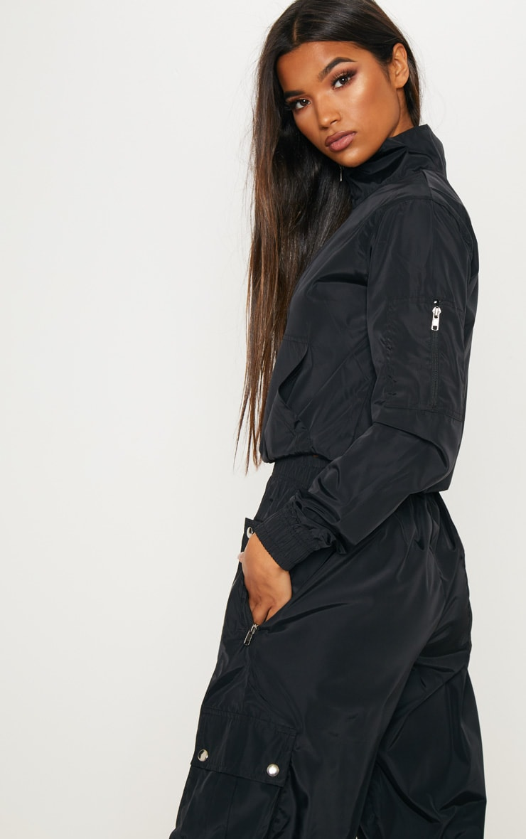 Black Shell Zip Up Tracksuit Top 2