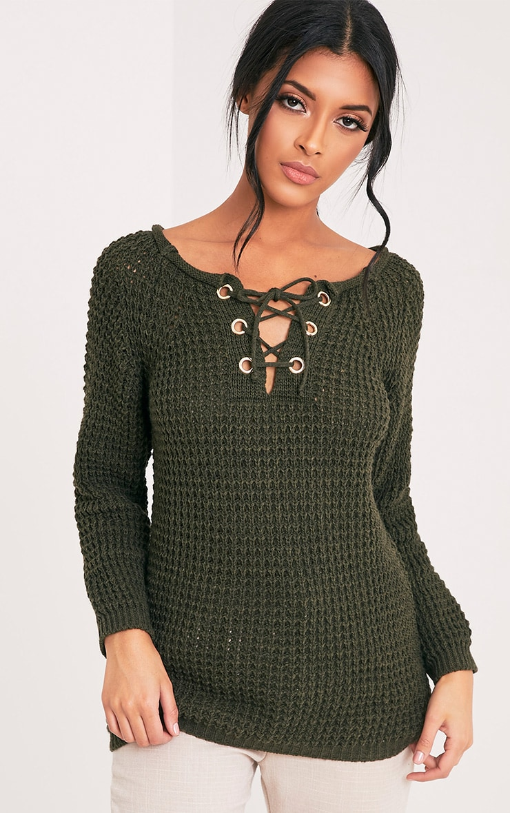 Haidyn Khaki Lace Up Knitted Jumper image 1 36667ff57